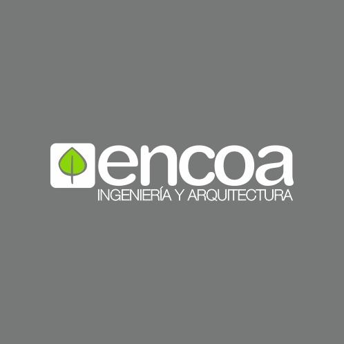 logotipo e isotipo de encoa, ingeniería y arquitectura. Diseñado por Imaxinemos, Vicente Fernández